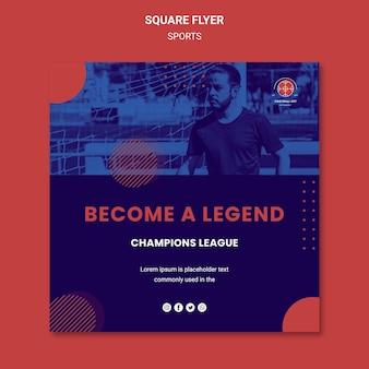 Panfleto quadrado de jogador de futebol com foto
