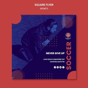 Panfleto quadrado de jogador de futebol