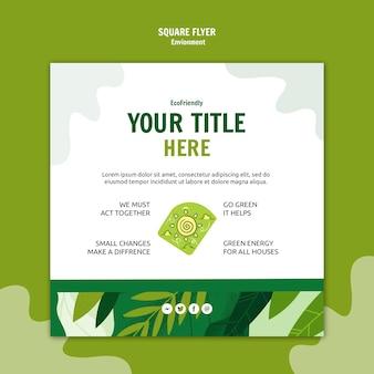 Panfleto quadrado de medida ecológica