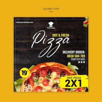 Panfleto quadrado de restaurante de pizza