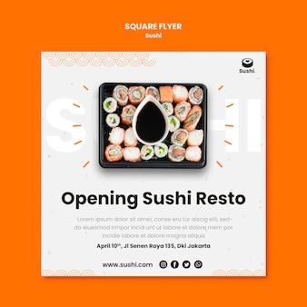 Panfleto quadrado de restaurante de sushi