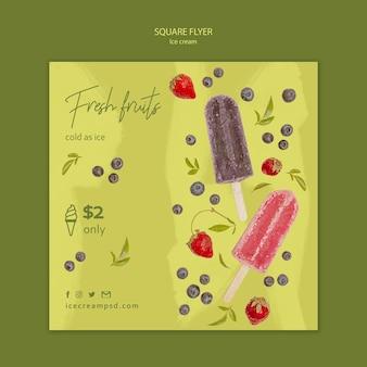 Panfleto quadrado de sorvete com foto
