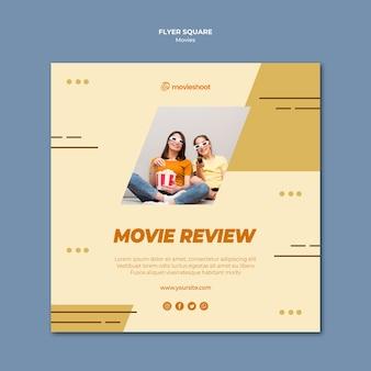 Panfleto quadrado de tempo de filme