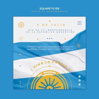 Panfleto quadrado do dia da independência da argentina