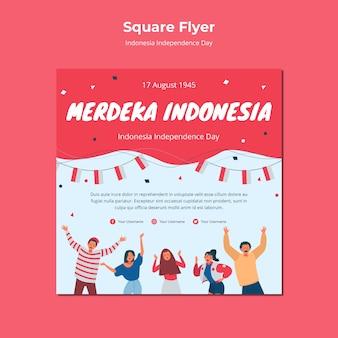 Panfleto quadrado do dia da independência da indonésia