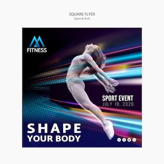 Panfleto quadrado esporte e tecnologia fitness