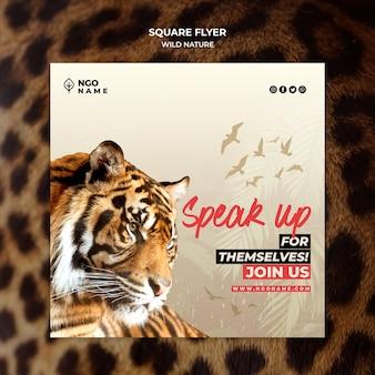 Panfleto quadrado natureza selvagem com tigre