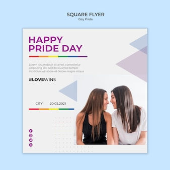 Panfleto quadrado orgulho gay
