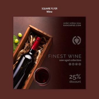 Panfleto quadrado para degustação de vinhos com garrafa