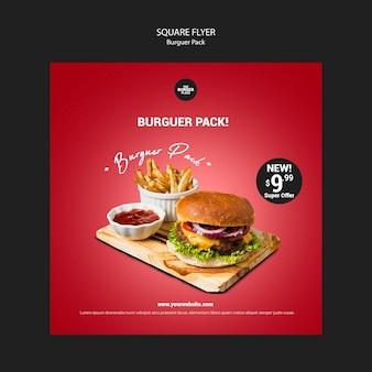 Panfleto quadrado para restaurante de hambúrguer
