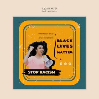 Panfleto quadrado para vidas negras importa