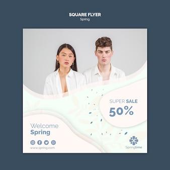 Panfleto quadrado primavera com super venda