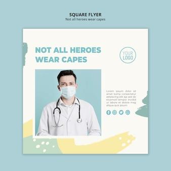 Panfleto quadrado profissional médico