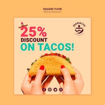 Panfleto quadrado restaurante mexicano de pratos tradicionais