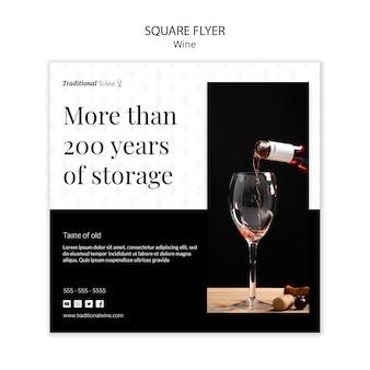 Panfleto quadrado vinho tradicional