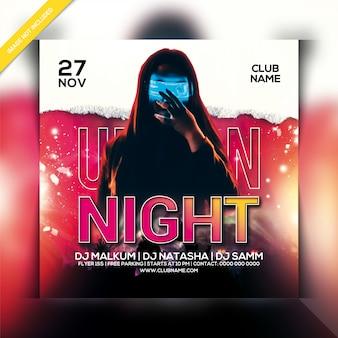 Panfleto urbano do partido da noite