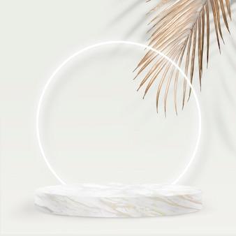 Pano de fundo do produto estilo moderno psd com pódio de mármore e folha de palmeira dourada