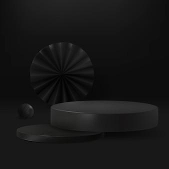 Pano de fundo preto do produto 3d psd com pódio elegante