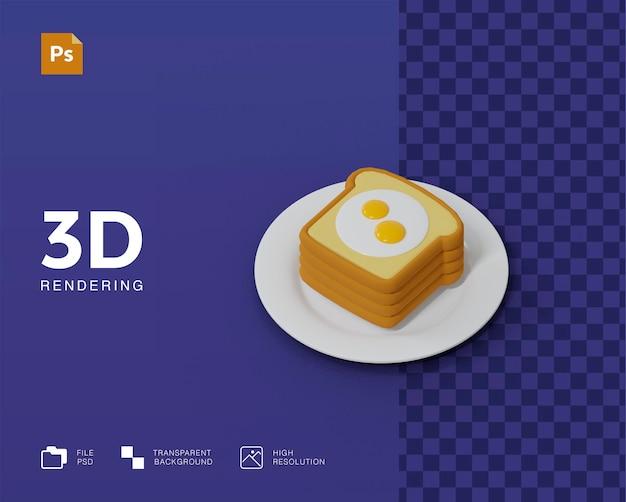 Pão 3d com ilustração de ovo