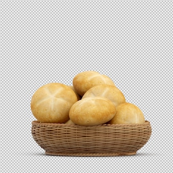 Pão isométrico 3d isolado render