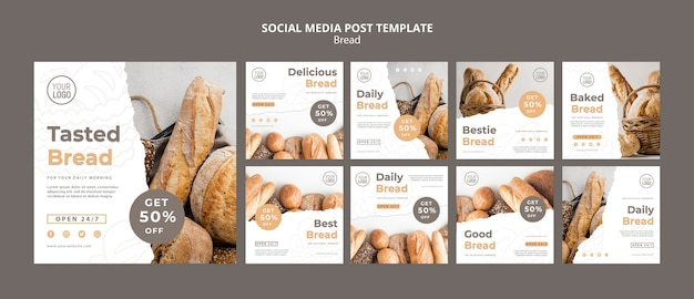 Pão post de mídia social