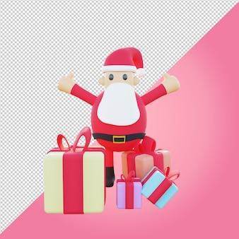 Papai noel 3d com caixa de presente colorida para presente de natal