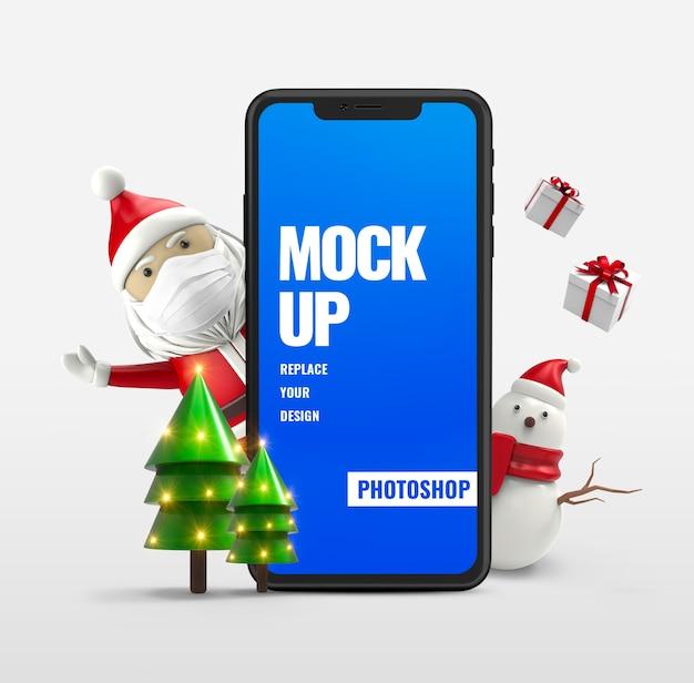 Papai noel com anúncio de maquete de smartphone de boneco de neve
