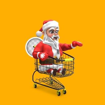 Papai noel dirigindo o carrinho de compras. renderização 3d