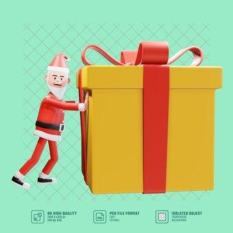 Papai noel empurra um grande presente de natal. o personagem 3d santa claussanta empurra um grande presente para o presente de natal. conceito de natal do papai noel 3d