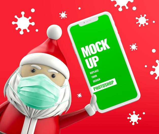 Papai noel segurando um celular com máscara protetora anti-vírus