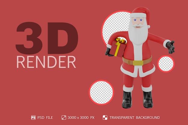 Papai noel traz personagem 3d de caixa de presente com fundo isolado