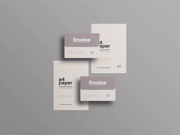 Papel a4 com maquete de envelope