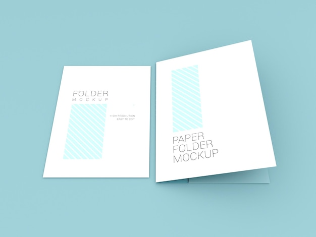 Papel a4 com maquete de pasta de apresentação