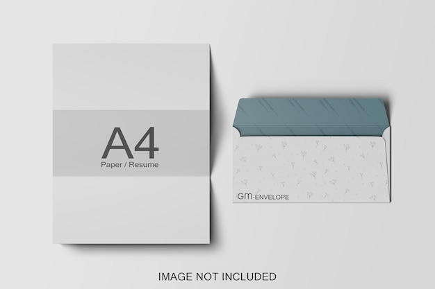Papel a4 e maquete de envelope isolada