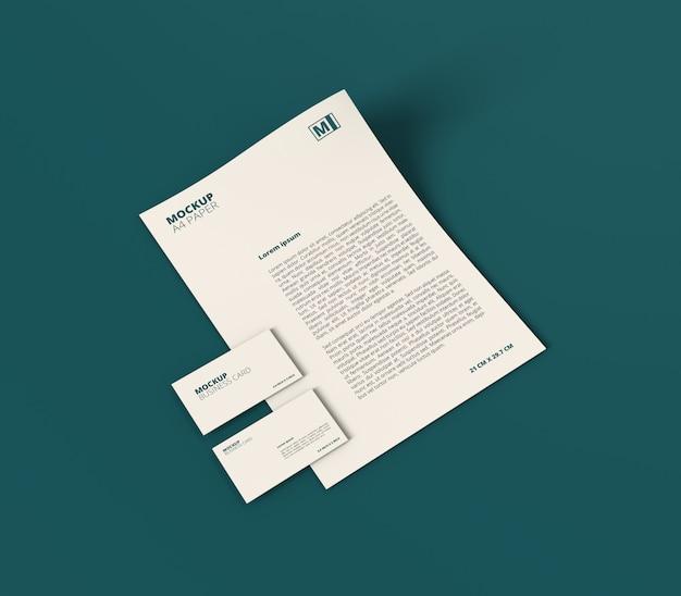 Papel a4 minimalista com maquete de cartão de visita
