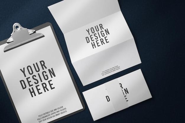 Papel a4 preto com design de maquete de prancheta