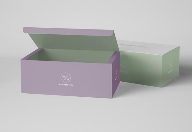 Papel aberto maquete de caixa