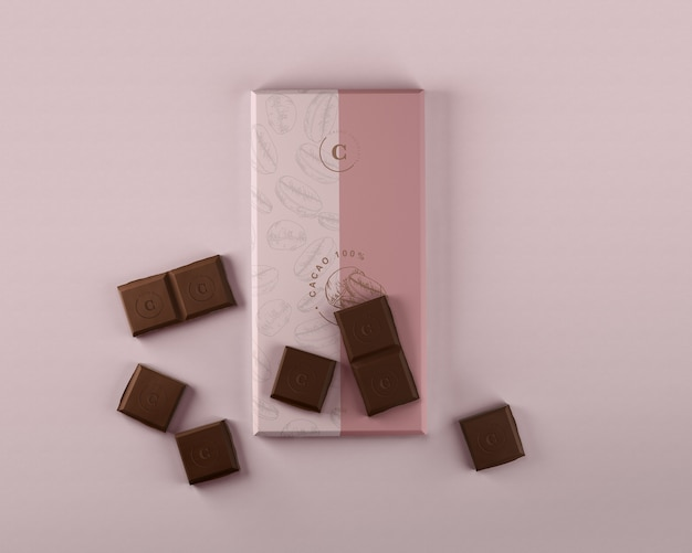 Papel chocolate embrulho mock-up