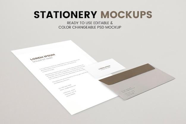 Papel de carta psd de maquete de papel envelope