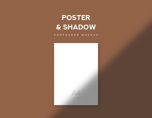 Papel de cartaz branco ou tamanho a4 de folheto e sombra