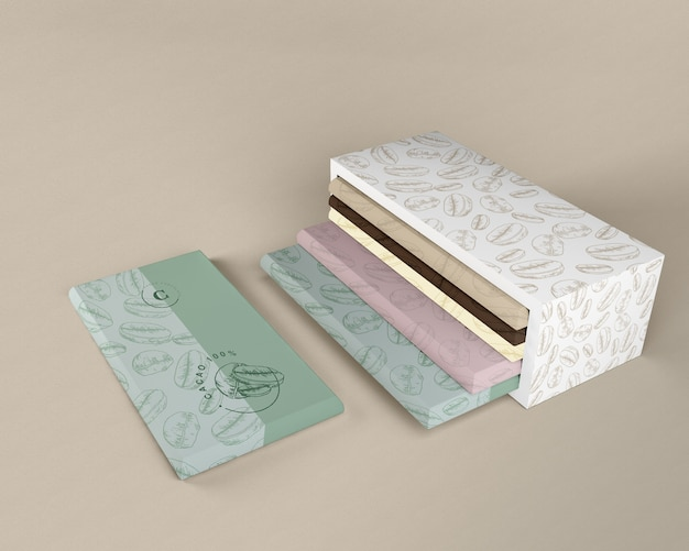 Papel de embrulho de chocolate e design de caixa