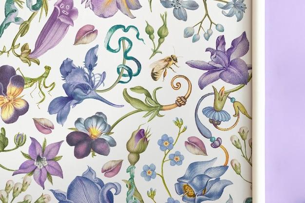 Papel de embrulho floral desenhado à mão em estilo vintage, remixado de obras de arte