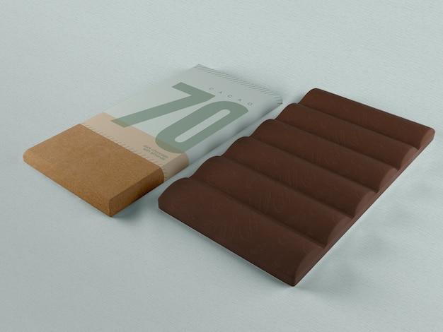 Papel de embrulho para chocolate tablet mock-up