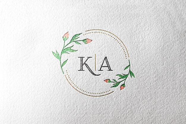 Papel de maquete de logotipo em aquarela