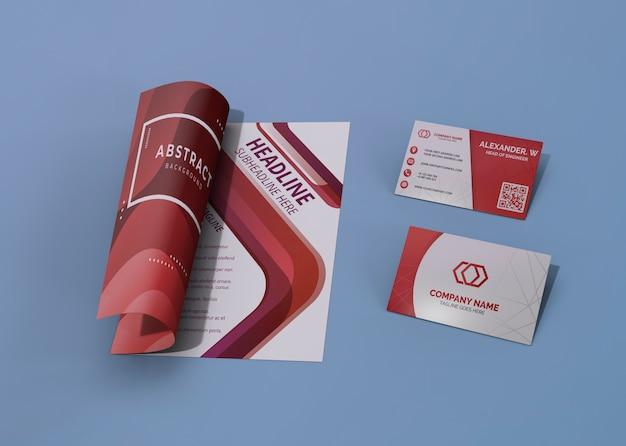 Papel de mock-up de negócios de empresa de marca vermelha e branca