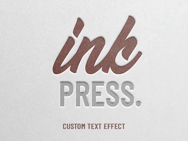 Papel de prensa de tinta em relevo efeito de texto