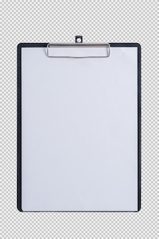 Papel em branco na prancheta de almofada isolada no fundo branco