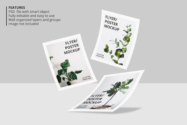 Papel flutuante realista ou design de maquete de folheto de panfleto