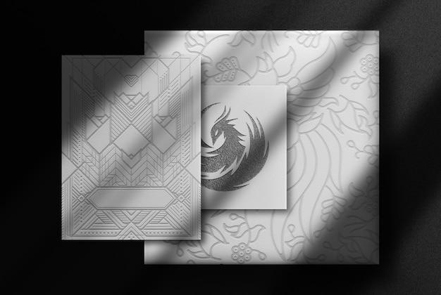 Papel gofrado de luxo e maquete de cartão de visita