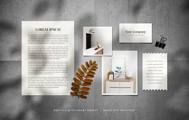 Papel timbrado a4 com cartão de visita e modelo de conjunto de moldura de foto